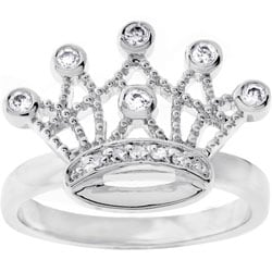 Thumbnail 1, Kate Bissett Silvertone Clear CZ Crown Ring.