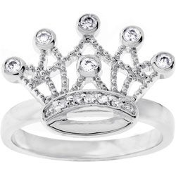 Kate Bissett Silvertone Clear CZ Crown Ring. Opens flyout.