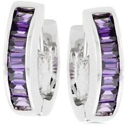 Silvertone Purple CZ Hoop Style Earrings