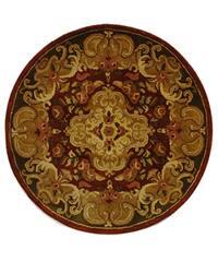 """Safavieh Handmade Classic Juliette Rust/ Green Wool Rug - 3'6"""" x 3'6"""" round"""