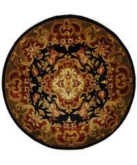 "Safavieh Handmade Classic Juliette Black/ Green Wool Rug - 3'6"" x 3'6"" round"