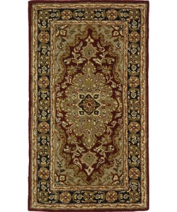 Safavieh Handmade Heritage Traditional Tabriz Red/ Black Wool Rug (2' x 3')