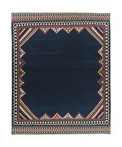 Nourison Hand-woven Mongol Kilim Navy Wool Rug (5'6 x 8'6)