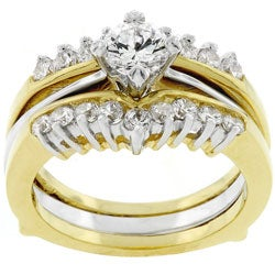 Goldtone Clear CZ Bridal Ring Set