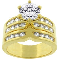 Goldtone Bridal Set Cubic Zirconia Ring