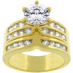 Goldtone Bridal Set Cubic Zirconia Ring (More options available)