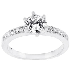 Silvertone Promise Clear Cubic Zirconia Ring