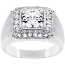 Silvertone Men's Square Top Cubic Zirconia Ring