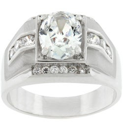 Men's Silvertone Square Design Oval-cut CZ Ring