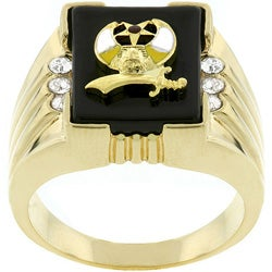 Men's Goldtone Enamel and CZ Nautical-themed Ring