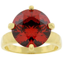 Kate Bissett Goldtone Round Red Cubic Zirconia Solitaire Ring