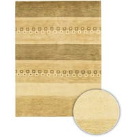 Artist's Loom Hand-knotted Contemporary Stripes Wool Rug (7'9 Round) - multi