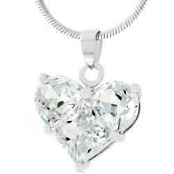 Silvertone Cubic Zirconia Heart Necklace - Thumbnail 0