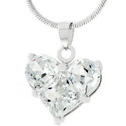 Silvertone Cubic Zirconia Heart Necklace