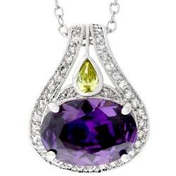 Kate Bissett Silvertone Large Purple Cubic Zirconia Necklace