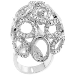 Kate Bissett Silvertone Cubic Zirconia Oversized Cocktail Ring