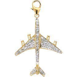 14k Yellow Gold 1/10ct TDW Diamond Airplane Charm