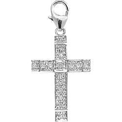 14k White Gold 1/10ct TDW Diamond Cross Charm