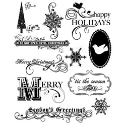 Thumbnail 1, Autumn Leaves 'A Rhonna Christmas' Clear Stamps.