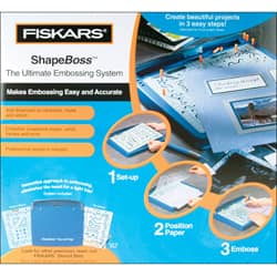 stencil New stylus Fiskars Card Boss ultimate card embossing system with tray