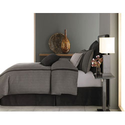 Grey Pinstripe Duvet Cover Set