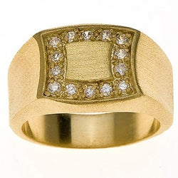 Simon Frank Yellow Gold Overlay Men's Signet Ring (4 options available)