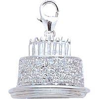14k White Gold and Diamond Birthday Cake Charm