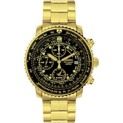 Seiko Men's Aviation SNA414 Goldtone Chronograph Watch