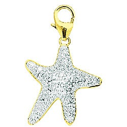 14k Gold 1/10ct TDW Diamond Starfish Charm