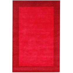 Hand-tufted Red Carving Wool Rug (8' x 10'6)