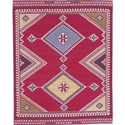 Nourison Hand-woven Mongol Kilim Red Rug (5'6 x 8'6) - Thumbnail 0