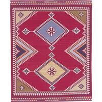 Nourison Hand-woven Mongol Kilim Red Rug (7'9 x 9'9)