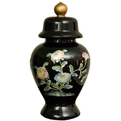 Handmade Small Black Birds and Flowers Temple Jar (China)