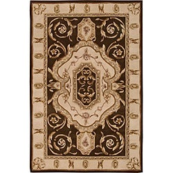 Nourison Hand-tufted Brilliante Brown Wool Rug (4'9 x 7'6) - Thumbnail 0