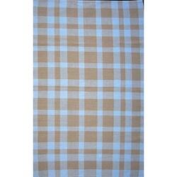 Handmade Alexa Checkered Collection Beige Cotton Rag Rug (6' x 9')