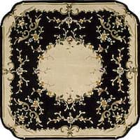 Nourison Hand-tufted Black Floral Wool Rug (7'3 x 7'3) Oval