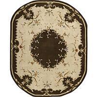 Nourison Hand-tufted Brilliante Beige/Brown Rug (7'3 x 9'3) Oval