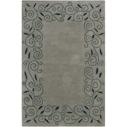 Artist's Loom Hand-tufted Contemporary Border Wool Rug (5'x7'6) - Thumbnail 0