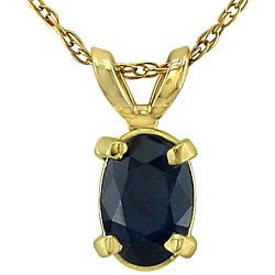 14k Yellow Gold Oval Sapphire Necklace