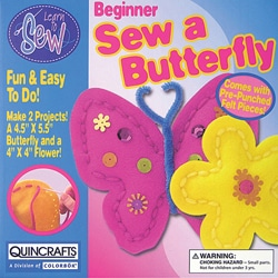Thumbnail 1, Butterfly and Flower Learn To Sew Kid's Craft Kit.