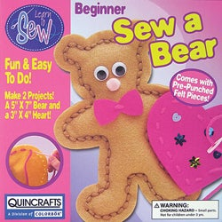 Thumbnail 1, Bear and Heart Learn To Sew Kid's Craft Kit.