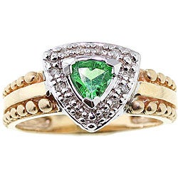 Michael Valitutti 14k Gold Tsavorite and 1/8ct TDW Diamond Ring