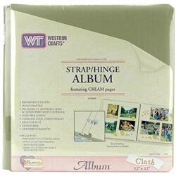 Thumbnail 1, Renaissance Cloth Strap Hinge Scrapbooking Album.