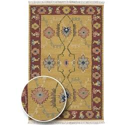 Thumbnail 1, Hand-woven Yellow/Red Southwestern Aztec New Zealand Wool Rug (8' x 11').