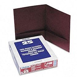 Linen Burgundy Twin-Pocket Portfolios (25 per Box)
