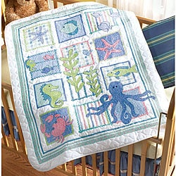 Shop Deep Blue Sea Stamped Cross Stitch Crib Cover Kit