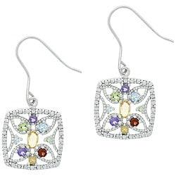 Glitzy Rocks Sterling Silver Multi-gemstone Earrings