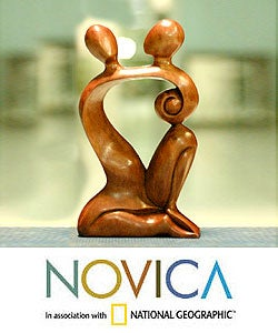 Handmade 'Dreaming of You' Wood Statuette (Indonesia)