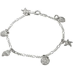 Journee Collection Sterling Silver Sea Shell Charm Bracelet