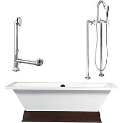 Tella Wood Plinth and Tub with Floor Faucet Package